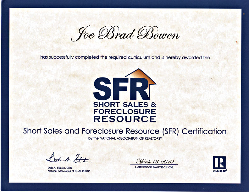Short Sales and Foreclosure Resource (SFR) certification